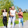 Teenagers  jogging — 图库照片