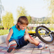 Boy with a bleeding injury - Stock Photo