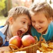 Kids biting autumnal apples — Stock Photo