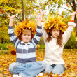 Two kids in autumnal head wreaths — Stock Photo #8692798