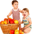 Stock Photo: Toddlers with fruit basket