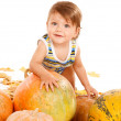 Child playing with pumpkins — Stock Photo