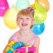 Kid with birthday presents — Stock Photo