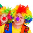 Stock Photo: Adult and little clowns