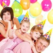 Stock Photo: Family in party hats