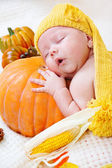 Baby sleeping on a pumpkin — Stock Photo