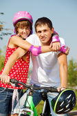 Cheerful girl and her dad — Stock Photo