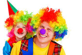 Adult and little clowns — Stock Photo