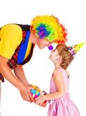Clown donnant présents — Photo