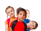Kids with backpacks — Stock Photo
