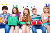 Friends with presents — Stock Photo