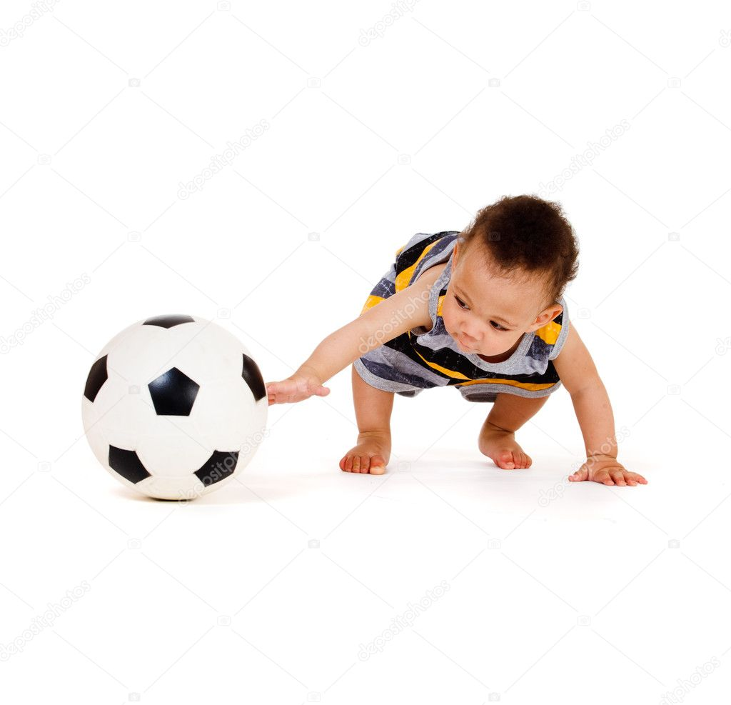 African american baby playing with soccer ball, isolated — Stock Photo #8690837