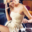 Beautiful girl talking by phone — Stock Photo #10681500