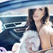 Adorable brunette in a car - Stock Photo