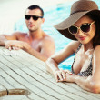 Sexy couple on sunny vacation day — Stock Photo