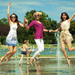 Three women enjoying summer day — Stock Photo