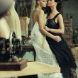 Two stunning ladies in a romantic pose — 图库照片
