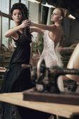 Two nostalgic women dancing — Stock Photo