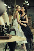 Two stunning ladies in a romantic pose — Stock Photo