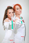 Couple of sexy nurses — Stock Photo