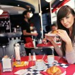 Woman at restaurant - Foto Stock