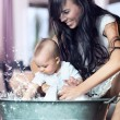 Bathing baby - Stock fotografie