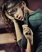 şirin esmer portresi — Stok fotoğraf