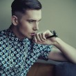 Vogue style portrait of a young guy - 