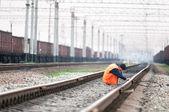 Railroad worker — Stock Photo