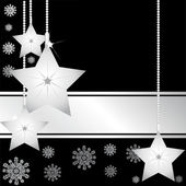 Silver christmas stars 1 — Stock Vector