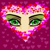 Green eye of the girl — Stock Vector