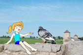 Cartoon girl feeds dove — Stock Photo