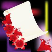Lilie mit alten pergament auf schwarzem hintergrund — Stockvektor