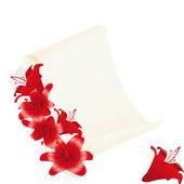 Lilie mit alten pergament — Stockvektor