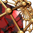 Red  ruby inwardly  of the lattice — Stock Photo