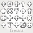 Set Crosses vector — Stock Vector