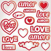 Set vector love heart — Stock Vector