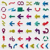 Vector set de flechas de papel — Vector de stock