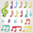 Vector music note icon on sticker set. — Imagens vectoriais em stock