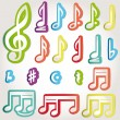 Vector music note icon on sticker set. — Vettoriali Stock