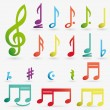 Vector music note icon on sticker set. — Stok Vektör