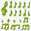 Vector music note icon on sticker set. — Stockvektor
