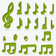 Vector music note icon on sticker set. - 图库矢量图片
