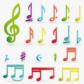 Vector music note icon on sticker set. — Vettoriale Stock