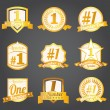Vector badges, certificates and seal icons. Number one. — Stock Vector