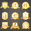 Vector badges, certificates and seal icons. Number one. — Stock Vector #9027486