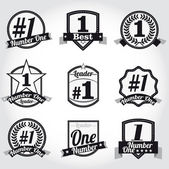 Vector badges, certificaten en verzegel pictogrammen. nummer één. — Stockvector