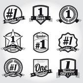 Vector crachás, certificados e ícones do selo. número um. — Vetorial Stock