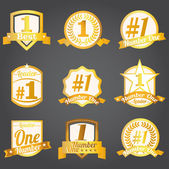 Vector badges, certificates and seal icons. Number one. — Stockvektor