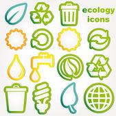 коллекция икон корзины и экологии — Cтоковый вектор